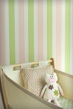 """Porters """"candy stripes"""" in candy apple for main wall in S's room"""