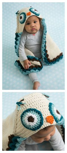 Crochet Owl Hooded Baby Blanket Pattern