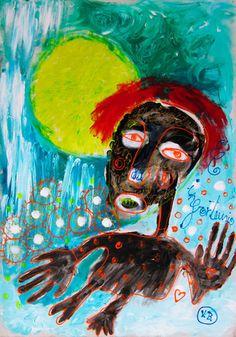 """""""El infortunio"""" de Victoria Barranco @ VirtualGallery.com - Pintura acrílica en cartón de 50x70 cm (19.7x27.6 in). Arte marginal. Retrato de un inmigrante ilegal. (2014)"""