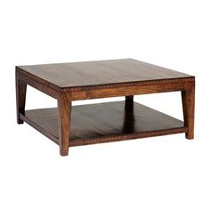 Saddler Square Coffee TablePerfect for any living room  Made of Acacia wood and trimmed with genuine leather inlay  No assembly required