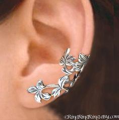 Spring Leaf Branch ear cuff by RingRingRing.  Cute!