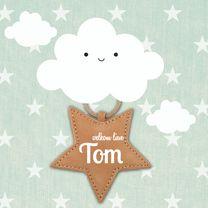 hip geboortekaartje met wolken