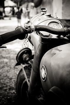Old school BMW motorcycle in black and white