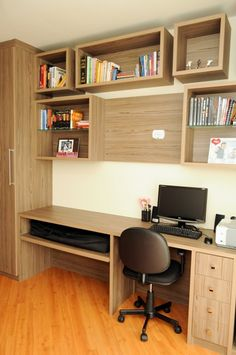 escritorio-nichos-para-livros Study Table Designs, Study Room Design, Home Office Design, Home Interior Design, Home Recording Studio Setup, Bookshelves In Bedroom, Duplex House Plans, Home Desk, Room Setup