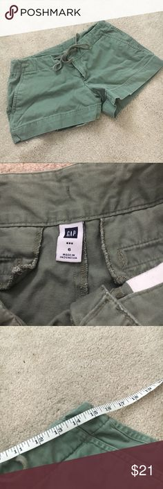GAP olive green tie casual shorts Size 6. GUC. Waist is adjustable but it's approximately 30 inches. 10.5 inch length. No trades! GAP Shorts
