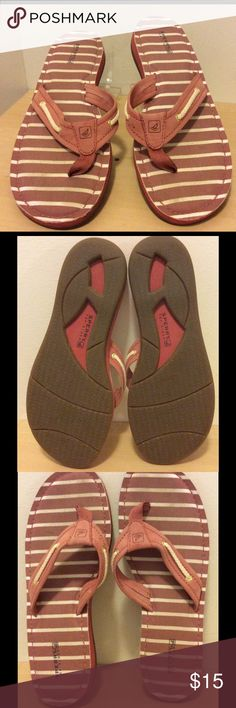 Sperry Top Sider Boat Flip Flops Gently used red and tan striped rope boat flip flops.  small marks on suede areas and foot area. Odor free. Sperry Top-Sider Shoes Sandals