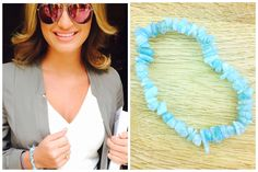 Sam Faiers wearing the Aquamarine Crystal bracelet ~ get the look https://crystal-harmony.myshopify.com/products/aquamarine