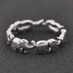 Elephant Sterling Silver Ring