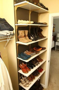 DIY Home Depot Shelves Turned Shoe Organization. Doesnu0027t Mark The Wall.  Doesnu0027t Let Shoes Slide Off Rack