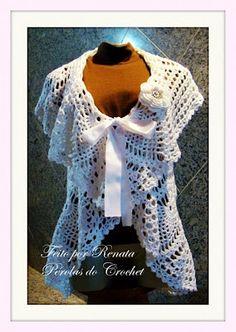 * Pérolas do Crochet: Casaco ou Colete circular de croche Branco