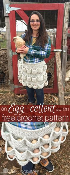This Crochet Egg Gathering Apron Pattern is pure genius and it makes the perfect gift for your Chicken loving friends and it's free!