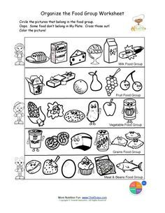 Free food groups printable nutrition education worksheet- Kids learn about the USDA Food Pyramid food groups- students will identify the foods in each food group, circle food group foods and color the nutrition theme pictures. Worksheets For Kids, Kindergarten Worksheets, Printable Worksheets, In Kindergarten, Free Printable, Bullying Worksheets, Symmetry Worksheets, Alphabet Worksheets, Printable Crafts