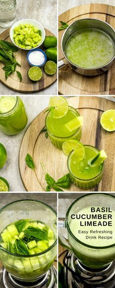 This Cucumber Basil Limeade Drink Recipe is a perfect treat for cooling down after a hot day.  This gorgeous green is accomplished by a mix of all green yumminess: limes, cucumbers, and basil.