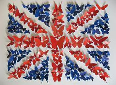 paper butterfly union jack-- Congrats to William and Catherine on new baby boy!!!!!