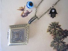 Locket Necklace Evil Eye Locket Hamsa Hand Locket by PrettyDIY, $16.00