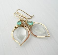 Little Leaf AAA Moonstone Earrings with by SarahHickeyJewellery, $95.00