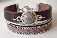 Armband Leer Breed Bruin Taupe Reptiel   Brede leren armbanden   Ma Belle Bijoux