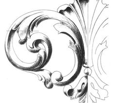 surface fragments: How to Draw the Acanthus, Part III Baroque Frame, Ornament Drawing, Scroll Pattern, Grisaille, Carving Designs, Wood Carving, Design Elements, Renaissance, Pattern Design