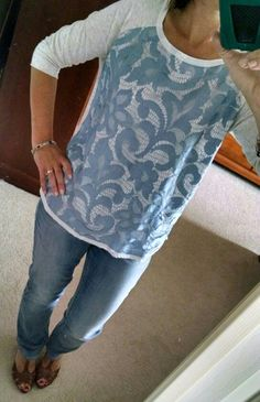 Stitch fix -41 Sweet Grey Carlisle mixed material top.....me in the items you sent.  Looks much better in person than it does on the style card!  A little big but Love this!  Paired with light wash denim