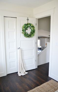 Trim around door Light & bright spring guest bedroom - a thrifty & affordable guest room makeover! Master Bedroom Bathroom, Bedroom Doors, White Bedroom Door, Bedroom Door Design, Home Renovation, Home Remodeling, Door Design Interior, Dark Interior Doors, Studio Interior