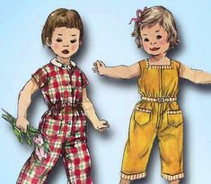 Simplicity Pattern 1594 Toddler's Coveralls Pattern for Boys or Girls Dated 1956 Complete Nice Condition 7 of 7 Pieces Counted. Sewing Patterns Girls, Girl Dress Patterns, Kids Patterns, Simplicity Sewing Patterns, Girls Casual Dresses, Toddler Girl Dresses, Toddler Girls, Boys, Girls Jumpers