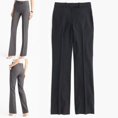 """J.crew Tall Preston pant Italian stretch wool, 8 J.crew Tall Preston pant in Italian stretch wool. Style E0547 (Sp 2016). Size 8 TALL.  Retail $198.   Measurements:  laying flat 16"""" waist and 36"""" inseam. Color BLACK.  Material is 96% Italian wool and 4% elastane.   Gorgeous!  Straight through hip and thigh, with a slightly flared leg.  Slant pockets, back welt pockets. These sophisticated high-waist pants are tailored & made from Italian stretch wool.  Purchased from J.crew. Brand new w…"""