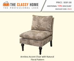 Armless Accent Chair w/Natural Floral Pattern