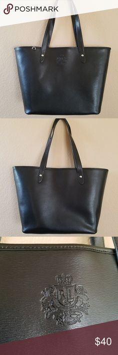 Black Ralph Lauren Tote Gorgeous black tote, used mostly as a work bag. No outside tears, stains, or signs of wear. Great condition. A couple dark spots on inside bottom. Lauren Ralph Lauren Bags Totes