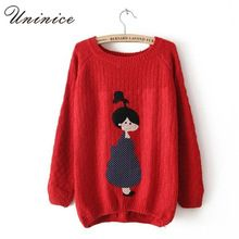 Cartoon Girls Christmas Pullovers Sweaters for Women 6 Colors Autumn & Winter Loose Casual Pullovers Sweater for Ladies Hot Sale(China (Mainland))