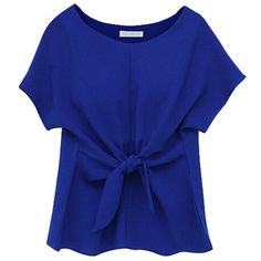 Blue Short Sleeve Tie Front Blouse (745 INR) ❤ liked on Polyvore featuring tops, blouses, blue blouse, blue top, short sleeve blouse, blue short sleeve top e short sleeve tops