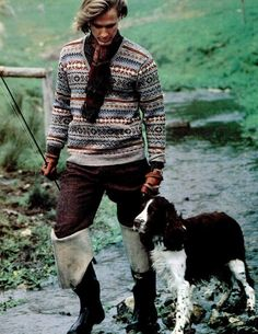 Fairisle to the fore in this vintage Ralph Lauren ad. Waders + net + hound complete the look
