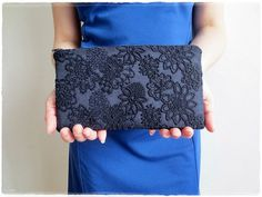 Navy blue clutch purse lace embroidered by KawaiiSakuraHandmade