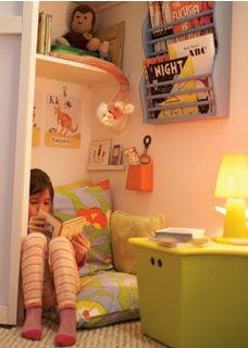 When i was little I made a special corner in my closet for the very same reason. Just for reading... Is it normal for little girls to do this? I would have loved for my mom to have done something special like this for me as a child :)   Little reading den in a closet