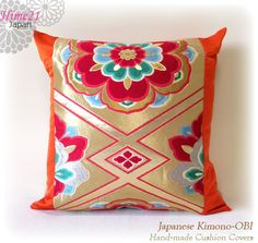 Vintage Japanese Kimono-OBI--pillow case, cushion cover, silk cushion,sofa bedding,embroidery on orange base--Made in Japan 005 by Hime21 on Etsy
