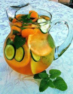 Another Water Infusion Idea  Ingredients per 8 oz serving: Water, 1 slice grapefruit, 1 tangerine, ½ cucumber sliced, 2 peppermint leaves.