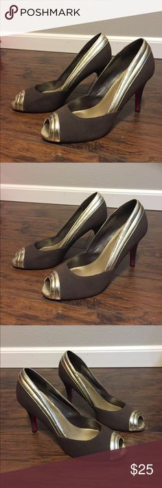 Gold & Brown ShoeDazzle Shoes with Signature Sole Gold and brown pink signature sole peep toe heels.  Great Condition. Pictured wear on bottom.  Heel height is approx 4 in. (17.10.0.1) Shoe Dazzle Shoes Heels