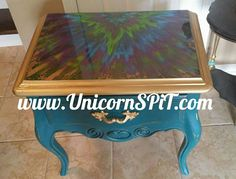 Peacock Side table / nightstand Base done in homemade chalk paint Top done with Unicorn SPiT Gel Stain Furniture, Hand Painted Furniture, Custom Furniture, Furniture Makeover, Upcycled Furniture, Unicorn Spit Stain, Homemade Chalk Paint, Furniture Inspiration, Furniture Ideas