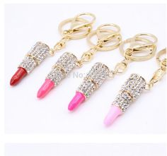 Free Shipping 5 Color Zinc alloy Crystal Rhineston Lipstick Key Chain Personalized Car Keychain Women Fashion Trendy Key Rings