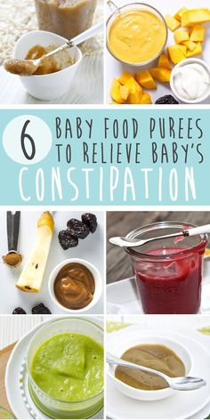 These 6 Baby Food Purees Will Help Relieve Baby's Constipation with no fuss from your little one. You can serve these purees when your baby is backed up or 2-3 times a week to keep things moving on the regular. #babyfoodrecipes