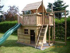 Speeltoestel Balkon met groot speelhuis en klimnet Itegem Belgie