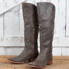 "Dan Post Women's Misstaken 18"" Sanded Leather Cowboy Boots - Square Toe Dp3296"
