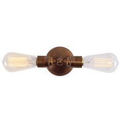 Zweiflammige Messing-Industrie-Wandleuchte von  Aire Lighting, Bild 4:
