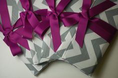 Bridesmaids Clutches in Gray and White Chevron with Fuchsia (though it'd have to be in pink, not fuschia). from ao3designs on Etsy.