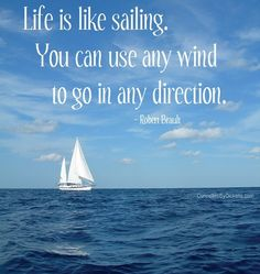 Life is like sailing. You can use any wind to go in any... | Robert Brault Picture Quotes | Quoteswave