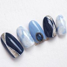 Creative Nail Designs, Gel Designs, Nail Art Designs, Matte Nails, Blue Nails, Marmor Nails, Japan Nail Art, Subtle Nail Art, Self Nail