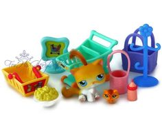 Littlest Pet Shop✵10 PC KITTY CAT MOMMY & TEENSY BABY STORE SHOPPING LOT C16 SET