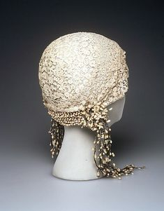 Wedding Cloche 1922, French, Made of lace and linen