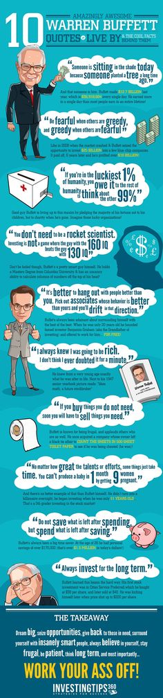 10 Amazingly Awesome Warren Buffett Quotes To Live By [Infographic] - An Infographic from Quizzle Wire