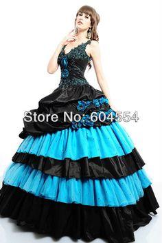 Custom Made Vestidos De Fiesta Blue&Black Taffeta Beading Crystal Ruffles Flowers Ball Gown Quinceanera Dress Debutante Dress