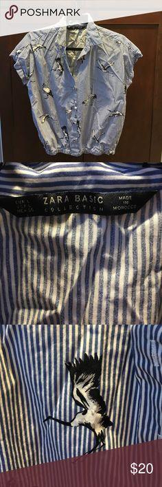 Zara Blouse w cranes Cute vintage inspired crane Blouse Spring 2016 Zara Tops Blouses